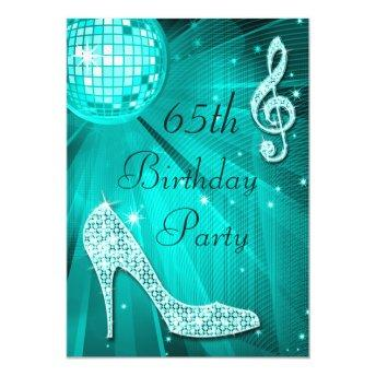 Teal Disco Ball and Sparkle Heels 65th Birthday Invitation
