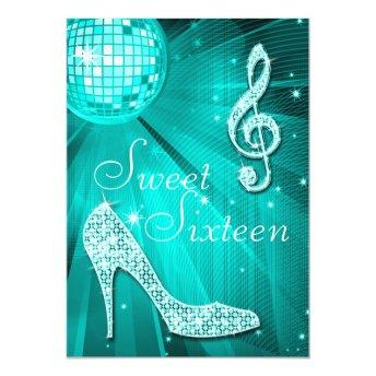 Teal Disco Ball and Sparkle Heels Sweet 16 Invitation