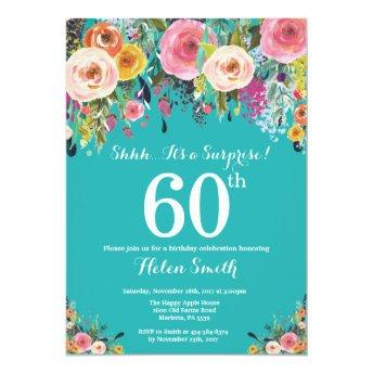 Teal Floral Surprise 60th Birthday Invitation