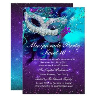 Teal Purple Feather Mask Masquerade