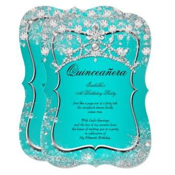 Teal Quinceanera 15th Winter Wonderland Silver
