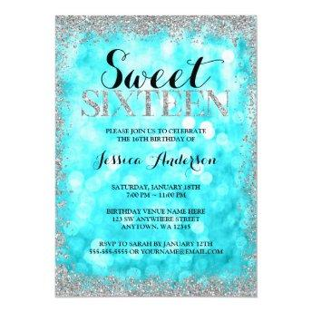 Teal Silver Faux Glitter Lights Sweet 16