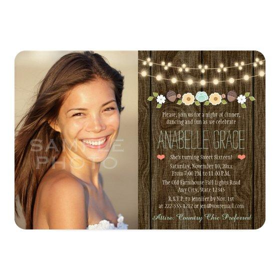 Teal String of Lights Rustic Sweet Sixteen Invitation