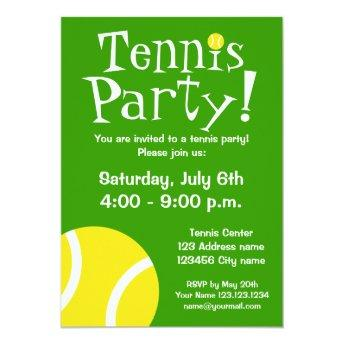 Tennis party Invitation for Birthdays or BBQ