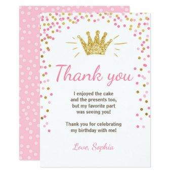 Thank you  Princess Birthday Gold Pink