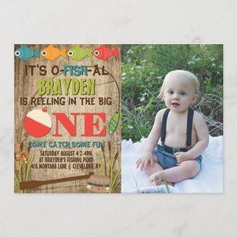The Big One Fishing Theme Boys First Birthday Invitation
