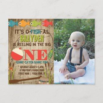 The Big One Fishing Theme Boys First Birthday Invitation PostInvitation