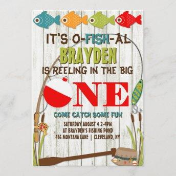The Big One Fishing Theme Gray Boys First Birthday Invitation