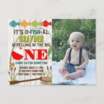The Big One Fishing Theme Gray Boys First Birthday Invitation PostInvitation
