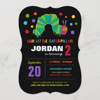 The Very Hungry Caterpillar Chalkboard Birthday Invitation