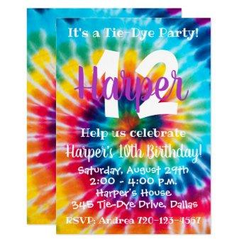 Tie Dye Birthday Invitation Tie Dye Invitation