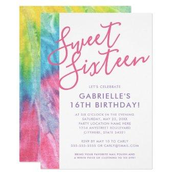 Tie Dye Hippy Chic Pink Teal Sweet 16 Birthday Invitation
