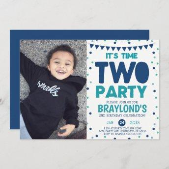 Time Two Party 2nd Birthday Invitation