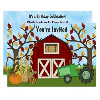 Tractor and Barn Autumn Farm Birthday