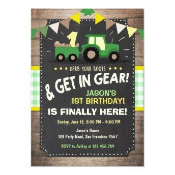 Tractor birthday  Farm party Boy Green