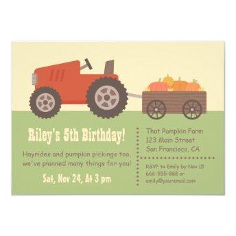 Tractor Pumpkin Kids Birthday Party