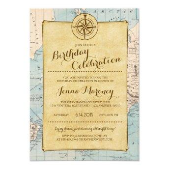Travel Map Birthday Celebration Invitation
