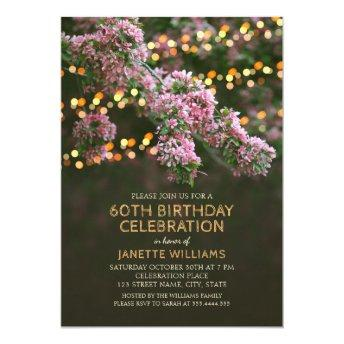 Tree Blossom Lights Rustic Floral 60th Birthday Invitation