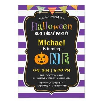 Trendy Purple Halloween Baby First Birthday Party