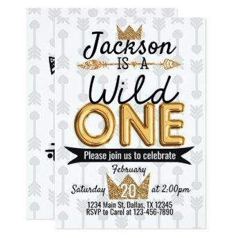 Tribal Wild One Birthday Party Invitation Crown