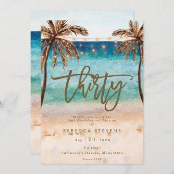 tropical beach summer 30th birthday party invitation