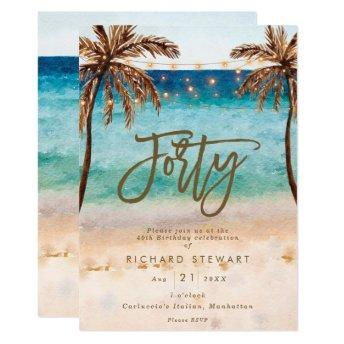 tropical beach summer 40th birthday party invitation