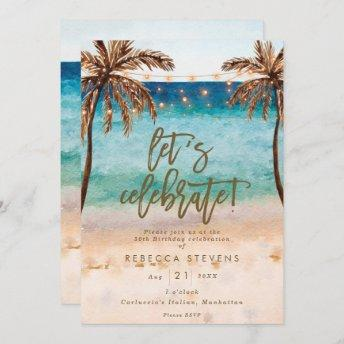 tropical beach summer let's celebrate birthday invitation