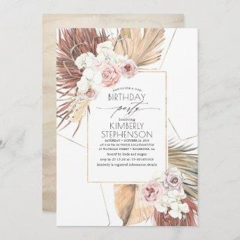 Tropical Dried Palm Leaves Foliage Birthday Invitation