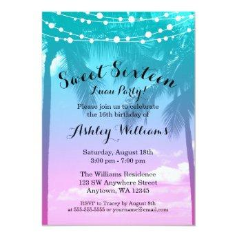 Tropical Luau Teal Pink Sweet 16 Birthday Invitation