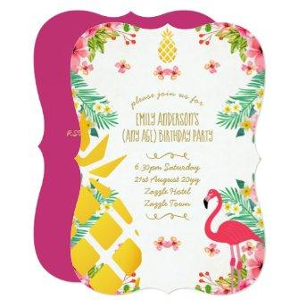 Tropical Pineapple Birthday Pink Flamingo ANY AGE