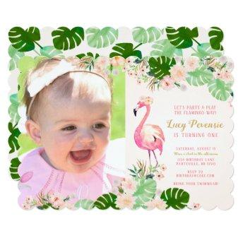 Tropical Pink Flamingo Photo Birthday Invite