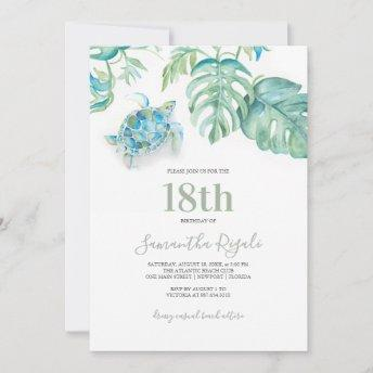 Tropical Sea Turtle Watercolor Birthday Invitation