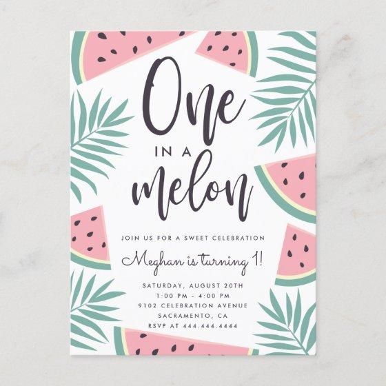 Tropical Summer Watermelon One In A Melon Birthday Invitation PostInvitation