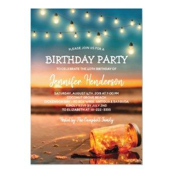 Tropical Sunset Beach Birthday Party Invitation