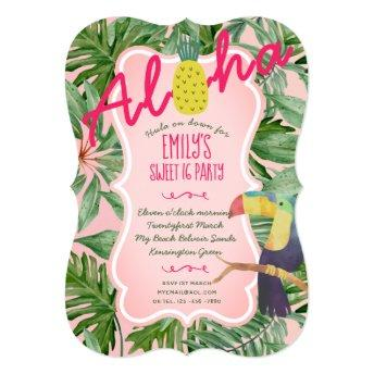 Tropical Sweet 16 Invites Hawaiian Luau Pineapple