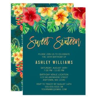 Tropical Watercolor Flowers Sweet 16 Birthday