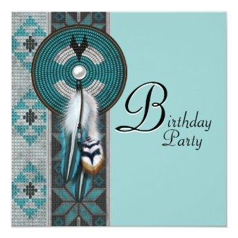 Turquoise Blue Native American Birthday Party