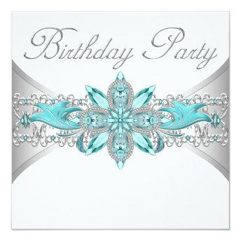 Turquoise Blue Silver Birthday Party