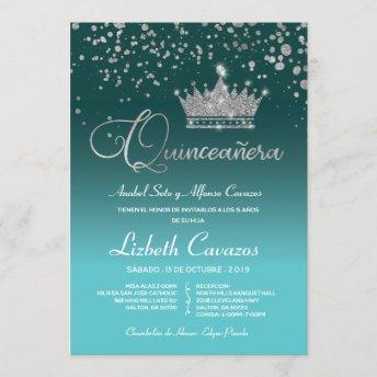 Turquoise Blue Silver Confetti Quinceanera Spanish Invitation