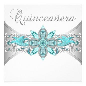 Turquoise Blue Silver Quinceanera