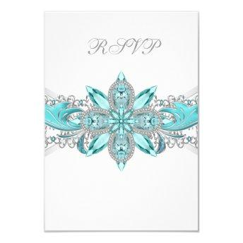 Turquoise Blue Silver Quinceanera RSVP Card