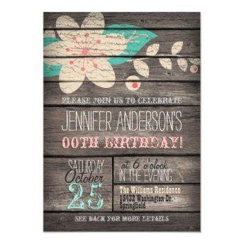 Turquoise, Pink Flower, Rustic Adult Teen Birthday