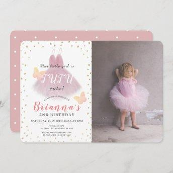 Tutu Cute Ballerina Pink & Whit Photo 2nd Birthday Invitation