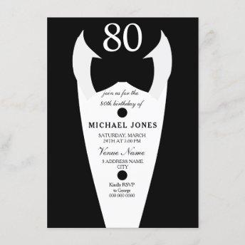 Tuxedo Bow Tie Mens 80th Birthday Party Invite