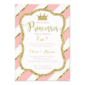 Twin Princesses Birthday Invitation, Pink, Gold Invitation