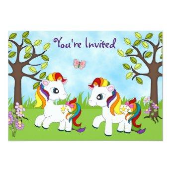 Twin Rainbow Ponies Horse Birthday