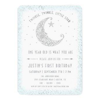 Twinkle Twinkle Little Star Boy Birthday Invite