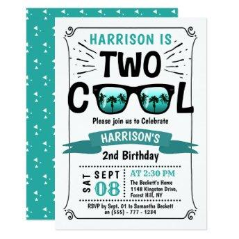 Two Cool Boys 2nd Birthday Invitation