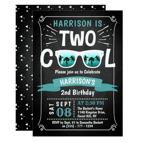201 Two Cool Boys Chalkboard 2nd Birthday Invitation
