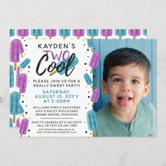 TWO COOL Kid's 2nd Birthday Summer Ice Pop Photo Invitation